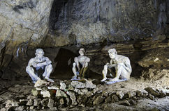 Cavemen in Bacho Kiro Cave royalty free stock photography