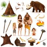 Cavemen Decorative Icons Set royalty free illustration
