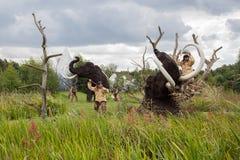 Cavemen hunt Royalty Free Stock Image
