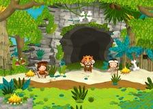 Cavemen near the cave - guards and shaman Stock Photos