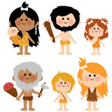 Cavemen people set Stock Photo