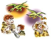 Cavemen and pterodactyls. Comic cartoon illustration Royalty Free Stock Photography