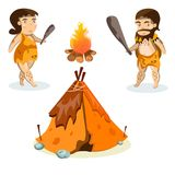 Cavemen in stone age weapon tool and ancient animals Stock Photo