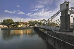 Cavenagh Brücke, Singapur-Fluss Lizenzfreies Stockbild