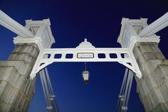Cavenagh Bridge. Famous old bridge in Singapore Stock Image