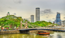 Cavenagh Bridge above the Singapore River Royalty Free Stock Photo