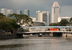 Cavenagh Bridge in Singapore Royalty Free Stock Photos