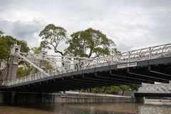 Cavenagh Bridge in Singapore Royalty Free Stock Images