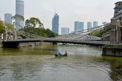 Cavenagh Bridge, Singapore Royalty Free Stock Photo