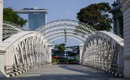 Cavenaghbrug over de Rivier van Singapore stock fotografie