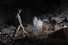 Caver in  Dachstein Mammut Cave. Stock Photos