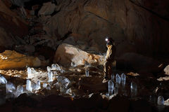 Caver in Dachstein Mammut Cave. View of Dachstein Mammut Cave. Austria stock photography