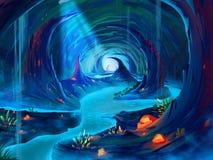 The Cavern with Fantastic, Realistic and Futuristic Style. Video Game`s Digital CG Artwork, Concept Illustration, Realistic Cartoon Style Scene Design stock illustration
