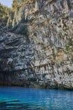 Caverna azul Melissani em Kefalonia, ilhas Ionian Imagem de Stock