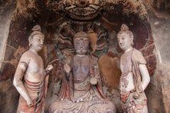Caverna Chilbulbong di Buddha della montagna di Tianshui Maiji Fotografia Stock