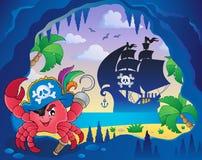 Caverna com caranguejo do pirata ilustração royalty free