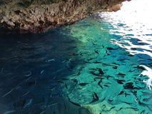 Caverna Corfù del mare Immagini Stock