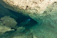 Caverna d'immersione U.S.A. di Florida Jackson Blue delle caverne subacquee degli operatori subacquei Immagini Stock Libere da Diritti