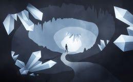 Caverna de cristal com homem Fotos de Stock