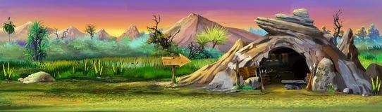Caverna de pedra com as montanhas no fundo ilustração stock