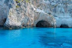 Caverna del blu dall'isola di Zacinto Fotografia Stock