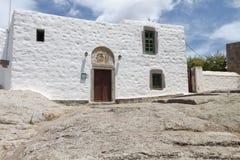 Caverna dell'apocalisse all'isola di Patmos, Grecia immagini stock libere da diritti