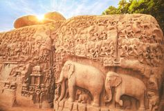 Caverna di Arjuna, Mahabalipuram, Tamilnadu Immagine Stock