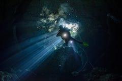 Caverna di Cenotes che si tuffa il Messico immagine stock