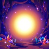 Caverna di magia Paesaggio leggiadramente di una caverna con i cristalli e le luci di mistero Priorità bassa di fantasia illustrazione di stock