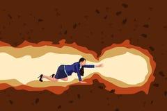 Caverna di movimento strisciante della ragazza illustrazione vettoriale