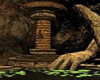 Caverna di segreto, 3D CG illustrazione di stock