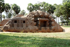 Caverna do tigre, Mamallapuram, India imagens de stock