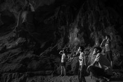 Caverna interna antiga histórica do UNESCO asiático Imagem de Stock