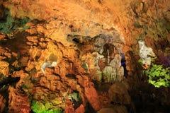 Caverna na baía longa do Ha em Vietname fotografia de stock