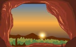 Caverna nos penhascos na manhã ilustração do vetor
