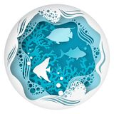 Caverna subacquea di carta con i pesci, barriera corallina del mare Fotografie Stock