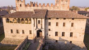 Cavernago, Bergamo, Italy. Aerial view of the ancient castle of Malpaga during the autumn season Royalty Free Stock Images