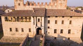 Cavernago, Bergamo, Italy. Aerial view of the ancient castle of Malpaga during the autumn season Stock Photos