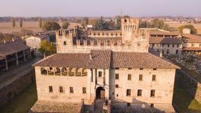 Cavernago, Bergamo, Italy. Aerial view of the ancient castle of Malpaga during the autumn season Stock Photography