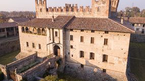Cavernago, Bergamo, Italy. Aerial view of the ancient castle of Malpaga during the autumn season Stock Image