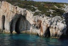 Cavernas azuis em Zakynthos Imagem de Stock
