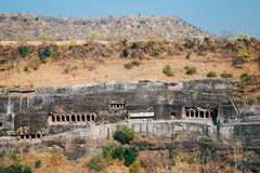 Cavernas de Ajanta na Índia Imagens de Stock Royalty Free