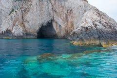 Caverne blu all'isola di Zacinto, Grecia Immagine Stock