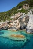 Caverne blu, isola di Paxos e mare ionico immagine stock libera da diritti