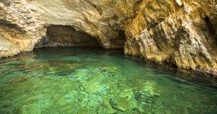 Caverne blu, isola di Zacinto, Grecia Corsa Immagini Stock