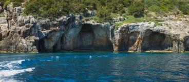 Caverne blu, Zakinthos, Grecia Fotografie Stock Libere da Diritti