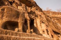 Caverne d'éléphant d'Ajanta Photos stock