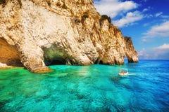 Caverne di Keri sull'isola di Zacinto Fotografia Stock Libera da Diritti
