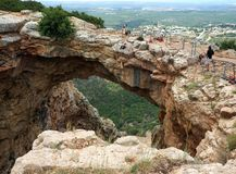Caverne Keshet en Galilée, Israël Photo libre de droits