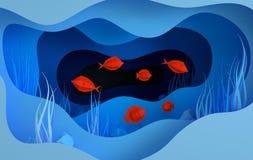 Caverne sous-marine de papier de mer avec des poissons, pierres, fond de la mer dans les algues, vagues Style profond 3d de coupe illustration stock